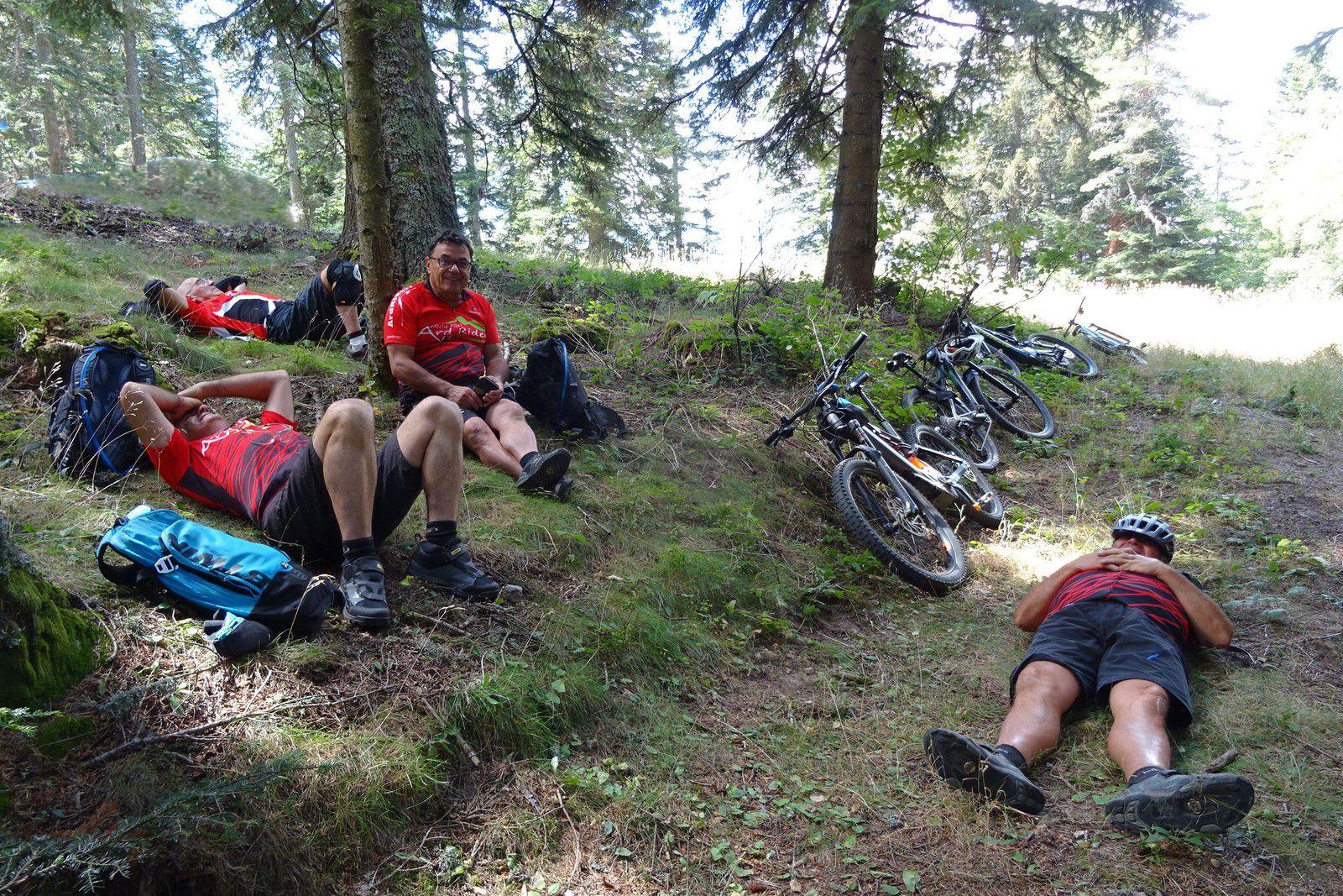 Ça se passe comme ça avec les Ardriders, sieste après le déjeuner.
