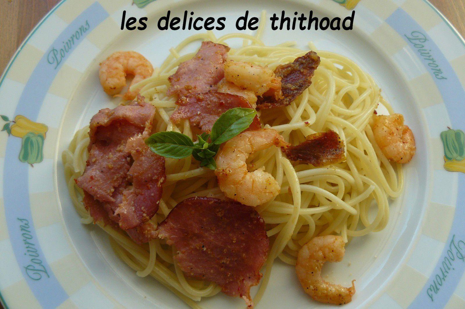 spaguettis aux crevettes et bacon