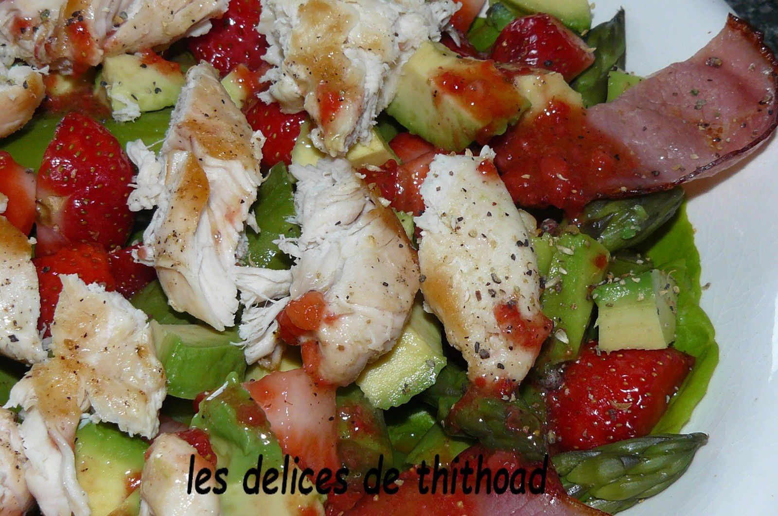 salade printanière fraises-poulet