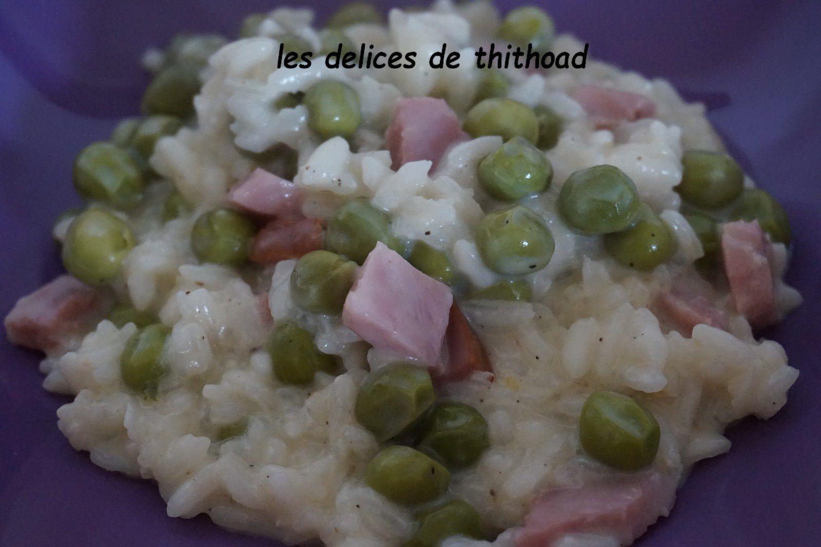 risotto de petits pois au jambon grill au I'COOKIN