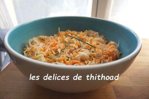 salade de pousses d'haricots mungo et crabe