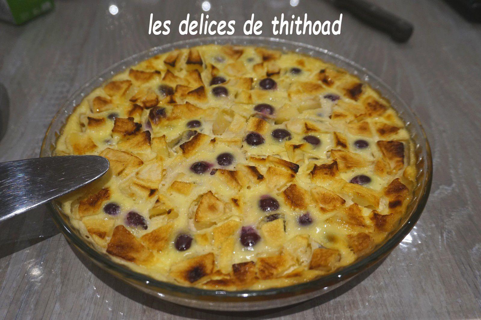 Clafoutis pommes et raisins à la semoule fine