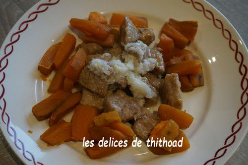 Filet de veau au lait de coco et patates douces rôties