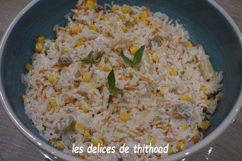 Salade de riz , surimi et maïs