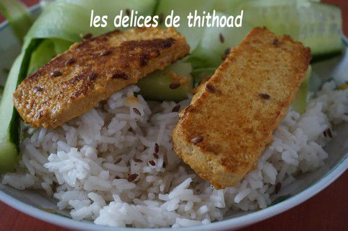 Tofu grillé et riz au gingembre