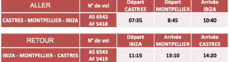 horaires hop air france castres montpellier ibiza