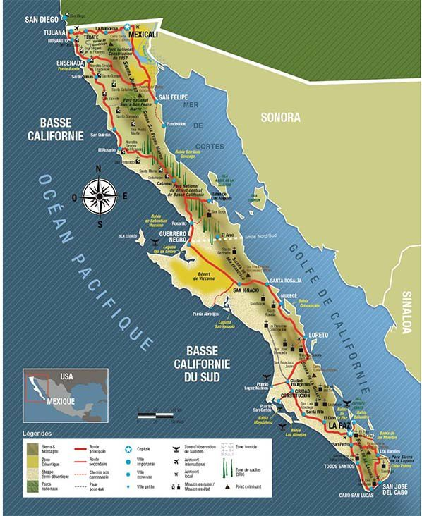 carte situation basse californie
