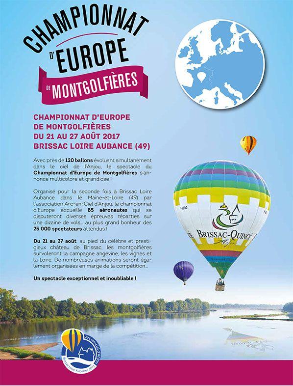 Le Championnat d'Europe de Montgolfières aura lieu à Brissac (49) du 21 au 27 août 2017
