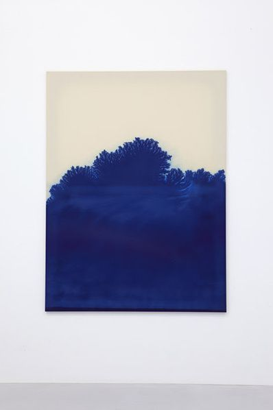 Latifa Echakhch, Moss and ivy are compiling various shades of greens. Everything higher than forty two centimeters turns to a heavy brown, 2014, Encre « phtalo » sur toile, Galerie Kamel Mennour, Paris/London. Photo : Fabrice Seixas & archives kamel mennour.© Latifa Echakch