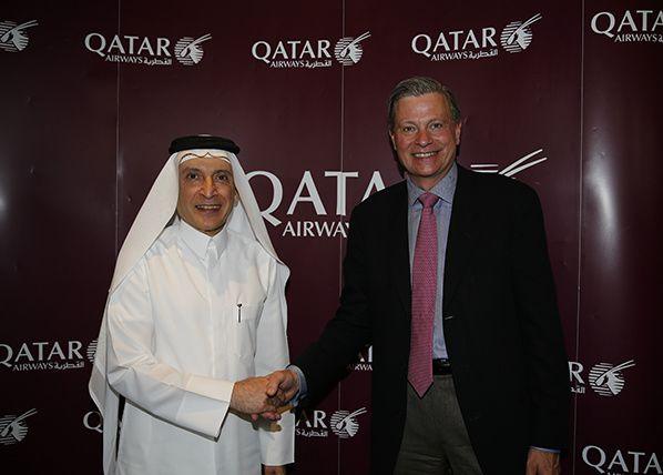 His Excellency Mr Akbar Al Baker, Qatar Airways Group Chief Executive, with Leo Mondale, Inmarsat Aviation President