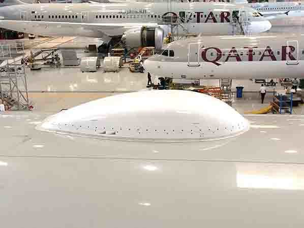 Qatar Airways Boeing 777 aircraft with the radome installation completed for Inmarsat's GX Aviation service.