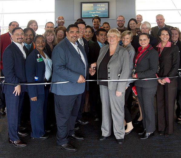 Ribbon-cutting in ORD chicago o hare international airport usa