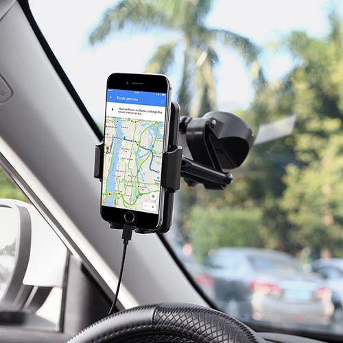 AUKEY Support Téléphone Voiture Rotation à 360° avec Bouton de Déblocage Rapide et Ventouse sur Tableau de Bord ou Pare-brise Support Voiture