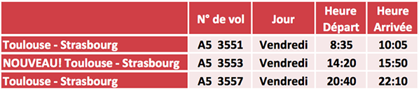 vol horaires air france hop toulouse strasbourg