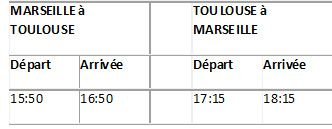 horaires twin jet marseille toulouse