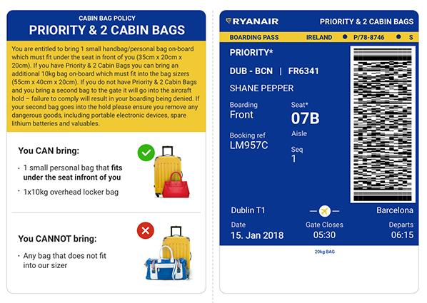 Boarding Pass - cabin - Priority - ryanair