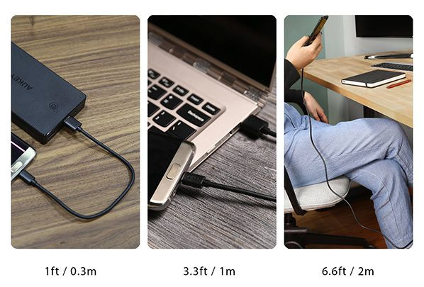 AUKEY Câble Micro USB ( 6 Paquets: 0.3m x 3 , 1m x 2 , 2m x 1 ) Micro USB pour Android Smartphone