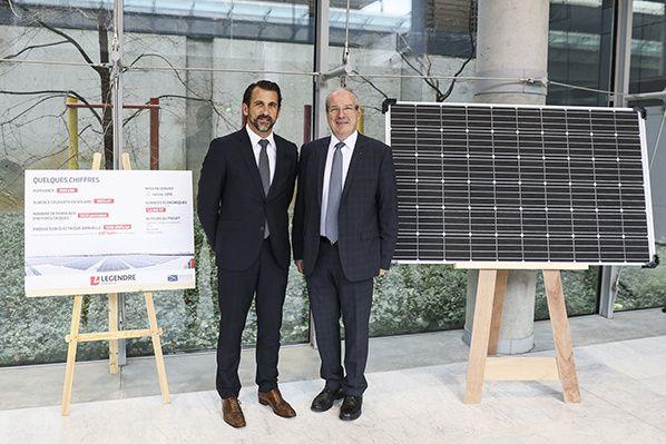 De g. à dr., Pascal Martin, président de Legendre Énergie et Directeur général du Groupe Legendre, et Jean-Michel Vernhes, président du Directoire d'Aéroport Toulouse-Blagnac, ont inauguré la centrale photovoltaïque de l'aéroport.