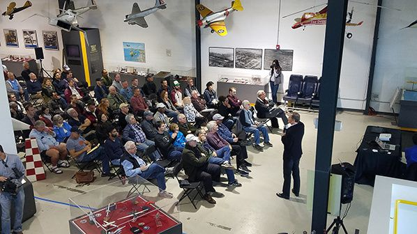 George Bye - front of crowd at Electric Airplane Morning