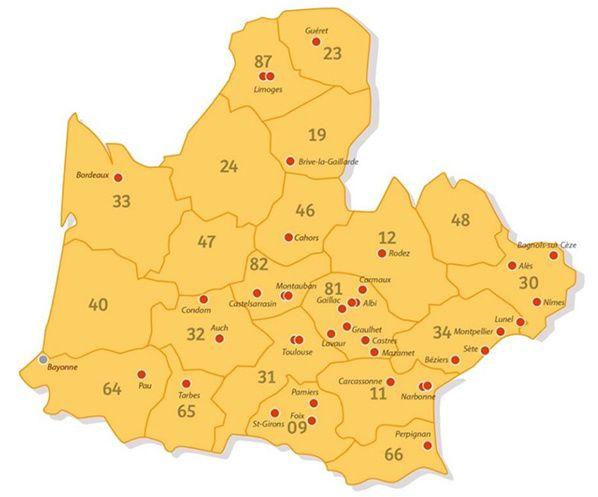Réseau des agences Harmonie Mutuelle dans le Sud-Ouest