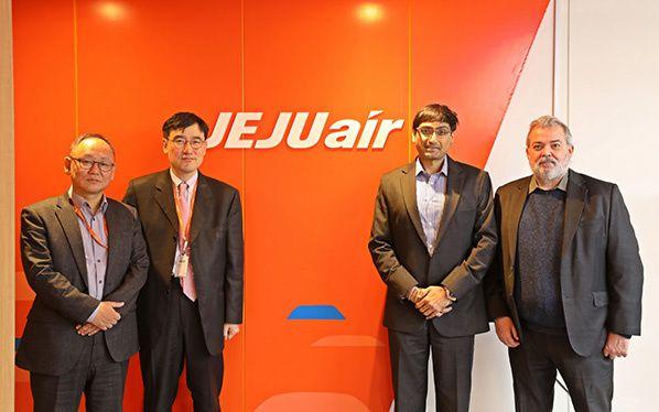 Sanguk Kim, CIO Jeju Air - Seok-Joo Lee, CEO Jeju Air – Sumesh Patel, SITA President APAC – Chris Eite, SITA VP Passenger Services