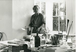 Patrick Heron in his studio at Eagles Nest c.1969 Photo by Mark Trompeteler Courtesy the estate of Patrick Heron 2018