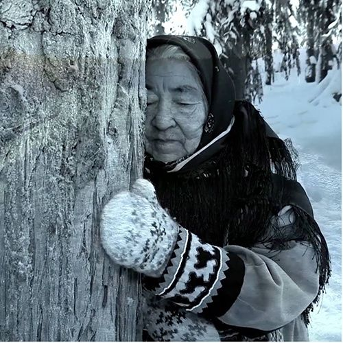 old woman snow
