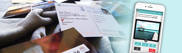 application simplycards vraie carte postale