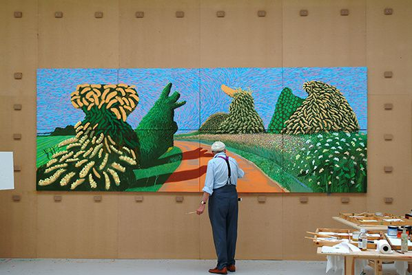 "Photo credit: David Hockney painting ""May Blossom on the Roman Road"" 2009, © David Hockney, Photo credit: Jean-Pierre Gonçalves de Lima"
