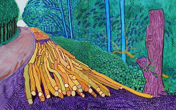 "Photo credit: David Hockney, ""More Felled Trees on Woldgate"" 2008, Oil on 2 canvases (60 x 48"" each), 60 x 96"" overall, © David Hockney, Photo Credit: Richard Schmidt"