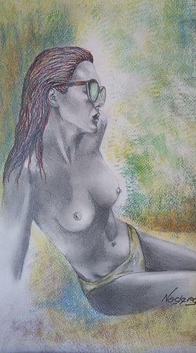 femme nue toile nadine resimont