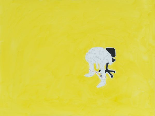 Wenfeng Liao, A Man on A Desk Chair-Limited by Unlimited, 2019, pencil, Marker Pen and Ink on Translucent Drafting Film, 60×45cm