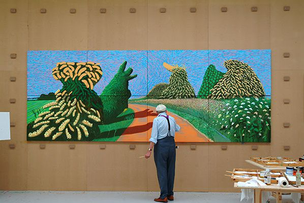 David Hockney painting May Blossom on the Roman Road 2009 © David Hockney.  Photocredit: Jean-Pierre Gonçalves de Lima