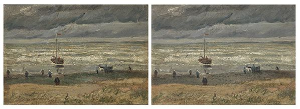 View of the Sea at Scheveningen before and after restoration