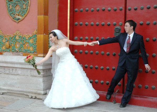 photo mariage chine mariee bouquet