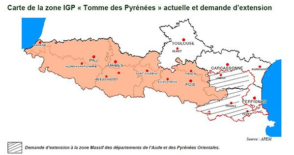 carte zone igp tomme pyrenees