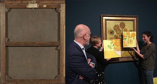 Creditline: Left: Sunflowers (backside), 1889, Van Gogh Museum, Amsterdam (Vincent van Gogh Foundation).Right: Artist Charlotte Caspers painted reconstructions of two details, based on the results of research into the original colours of Van Gogh's Sunflowers in the Van Gogh Museum.