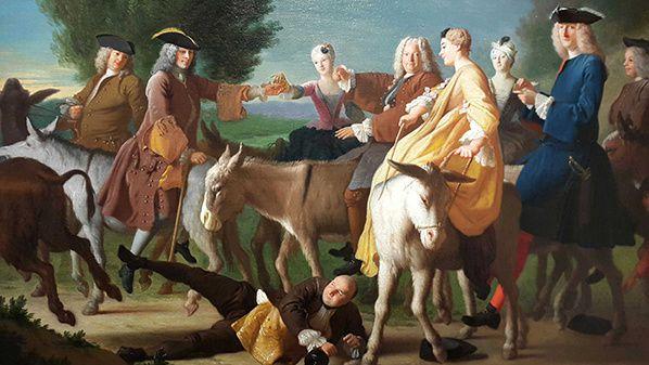 Michel-Ange Houasse (Paris, 1680 – Arpajon, 1730) Une partie d'ânes Huile sur toile 70,5 x 88,1 cm copyright Fondation bemberg