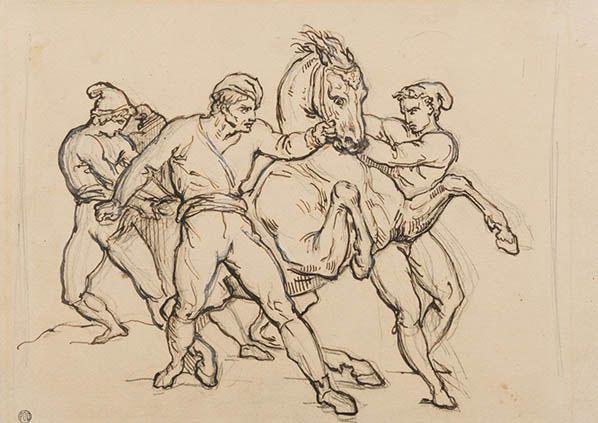 héodore Géricault (1791-1824) Rouen 1791-1824 Paris Quatre hommes retenant un cheval  Crayon et encre brune, avec des touches de rehauts de blanc 226 x 321 mm ©Stephen Ongpin Fine art