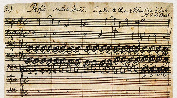 Autographe de la Passion selon St Jean de Johann Sebastian Bach, choeur d'ouverture