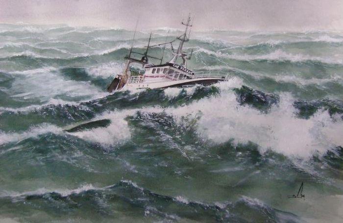 Aquarelle marine d' Isabelle Jambon