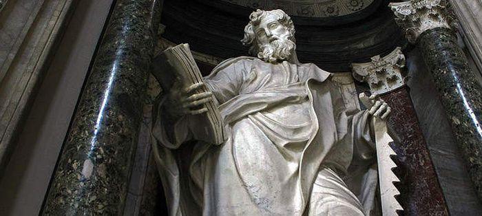 Simon le zélote, ici représenté tenant une scie, laquelle, selon la légende, présida à son supplice