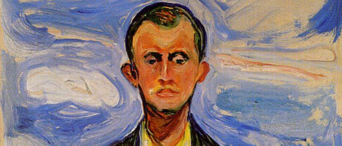 Edward Munsch, (1863-1944), Auto portrait devant un ciel bleu, 1908, détail