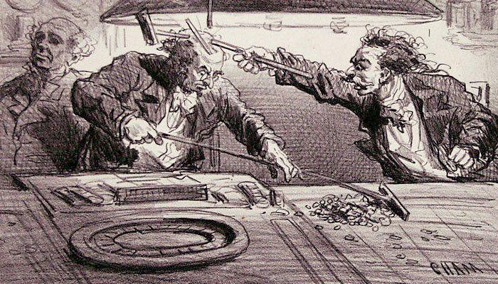 Amédée Charles Henri de Noé dit Cham (1818-1879) Un mauvais joueur, détail