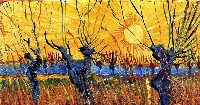 Vincent Van Gogh (1853-1890), Saules têtards au soleil couchant, détail