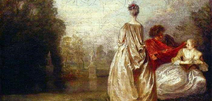 Jean-Antoine Watteau (1684-1721) Les deux Cousines, détail