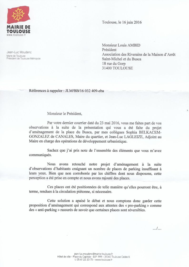 Réponse du Maire de Toulouse sur l'aménagement de la place du Busca