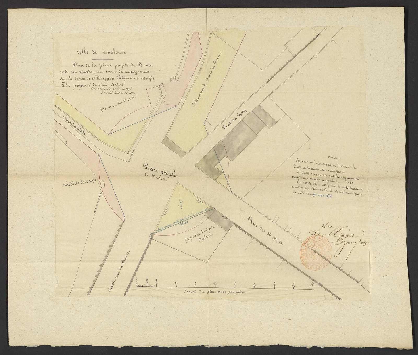 1856 -plan de la place du Busca - AMT 64Fi2094