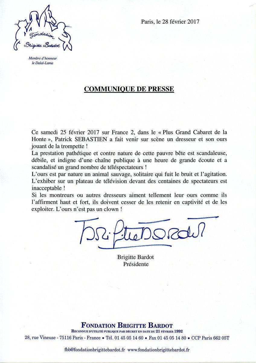 """Brigitte Bardot : Communiqué de presse """"Le plus grand cabaret""""..."""