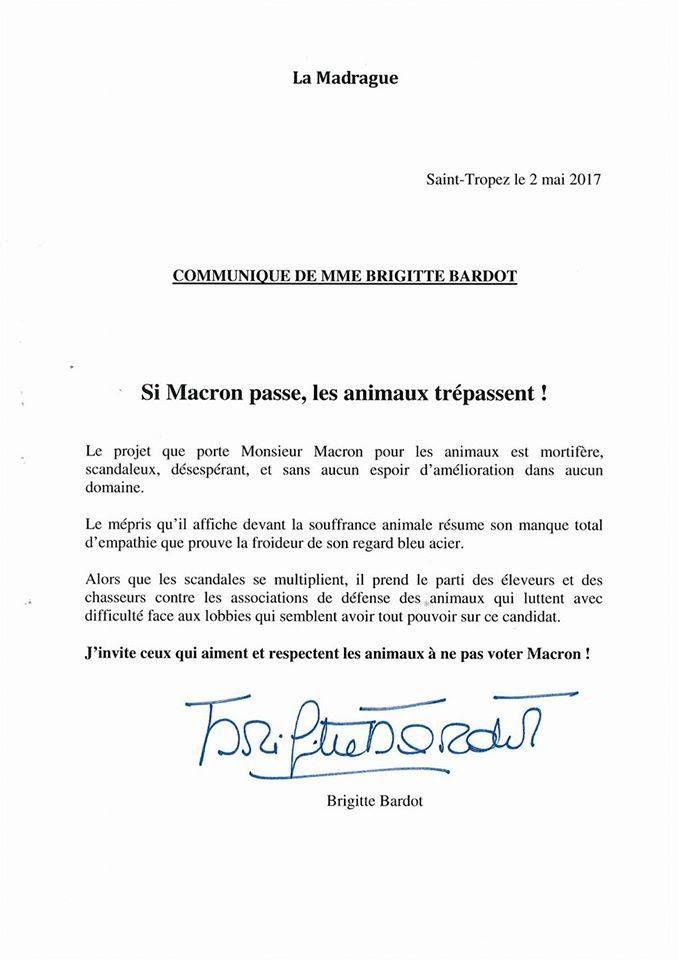 Voici la raison pour laquelle Brigitte Bardot ne votera pas pour Macron !